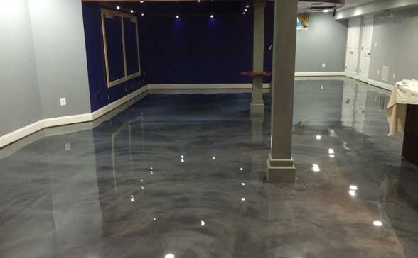 metallic epoxy basement floor