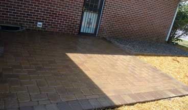 stone overlay concrete patio